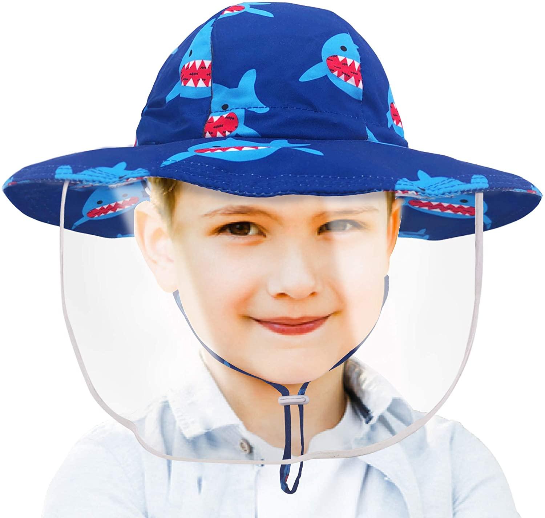 Kids Sun Visor Hat with Detachable Transparent Cover Protective Fisherman Hat Boys Girls Wide Brim Bucket Hat