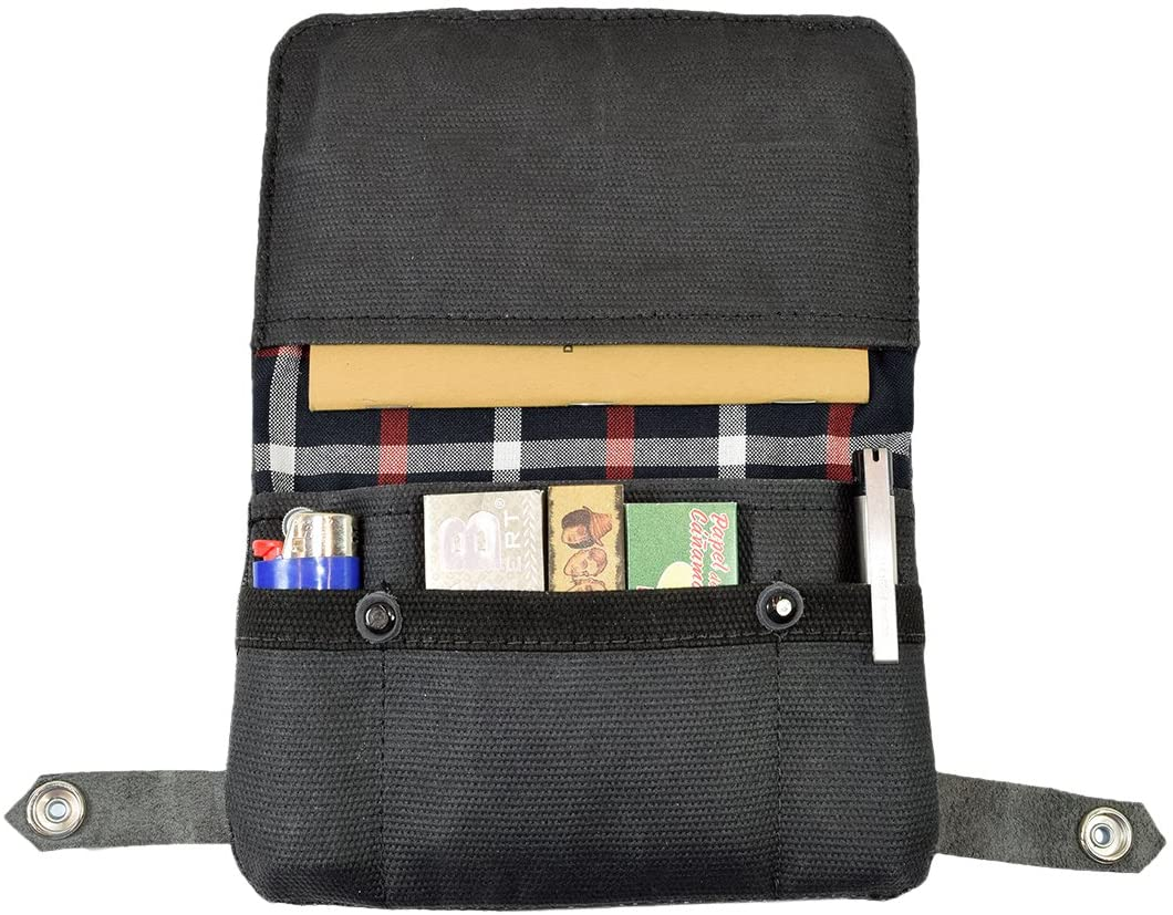 Hide & Drink, Soft Waxed Canvas Tobacco Pouch, Smoking and Field Notes Case, Classic Vintage Birthday & Anniversary Gifts, Smoking Essentials Handmade Includes 101 Year Warranty :: Charcoal Black