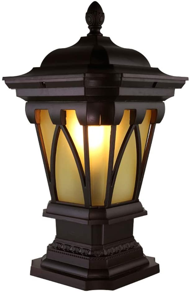 Mpotow Aluminum Waterproof Dustproof Outdoor Pedestal Light Glass Lamp Cover Metal Post Light Park Patio Villa Decor Pillar Lights Column Railing Lamp Exterior Post Lights Street Light E27