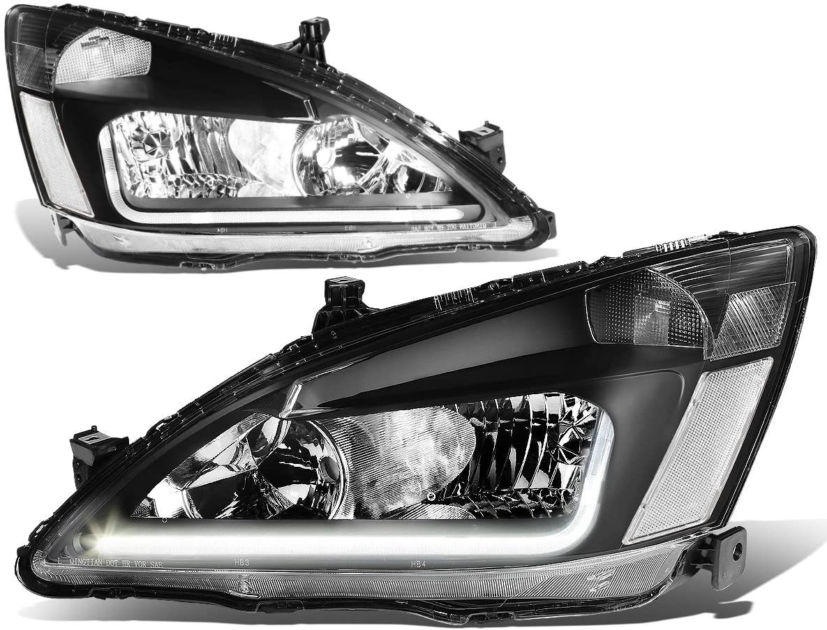 Replacement for 03-07 Honda Accord 7th Gen UC1 Pair of Black Housing Clear Corner Headlights + LED DRL