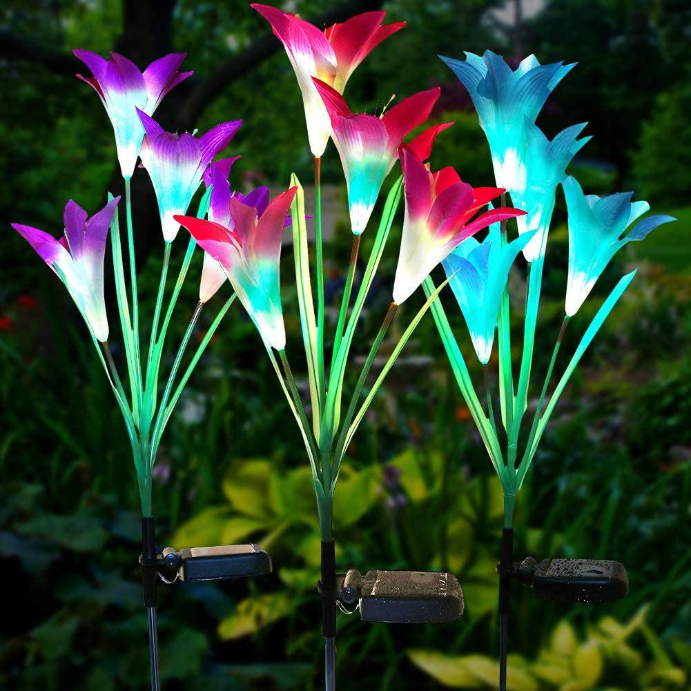 Litake Solar Flowers Garden Lights,Waterproof Lily Flower Lights Outdoor,Muti-Color Changing Solar Pathway Decorative Lights for Lawn Garden Landscape Backyard,3 Packs