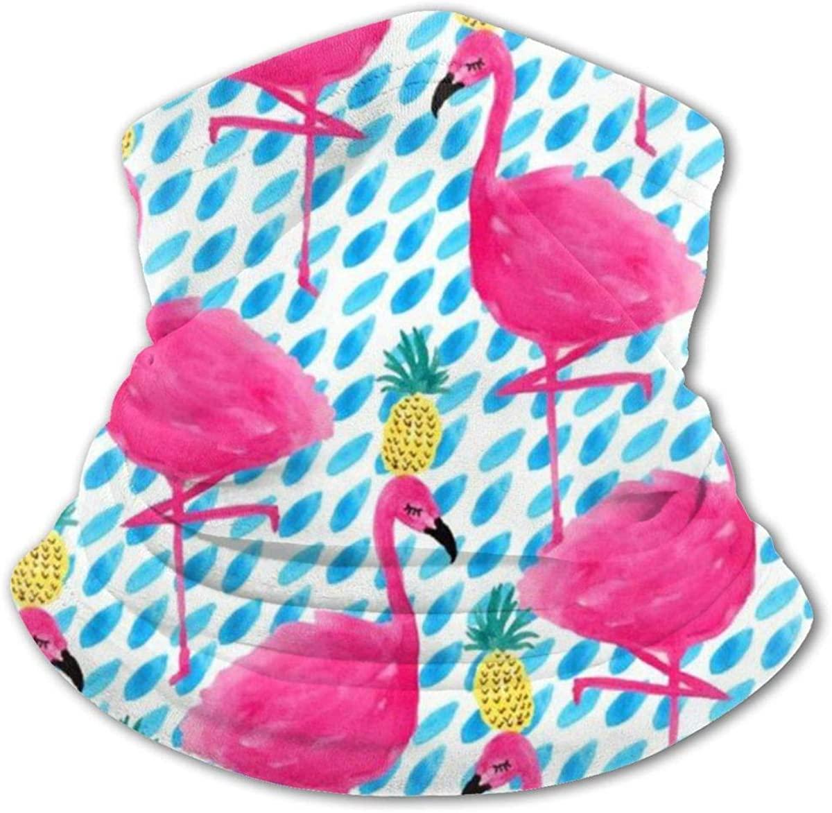 Flamingos And Pineapples Headwear For Girls And Boys, Head Wrap, Neck Gaiter, Headband, Tenn Fishing Mask, Magic Scarf, Tube Mask, Face Bandana Mask For Camping Running Cycling