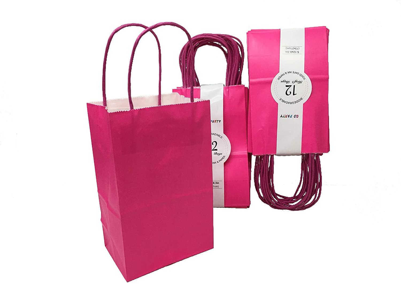 Go Party 2DZ Kraft Paper Gift Bags Size(8 X 5 X 3.5) inch (Fuchsia)
