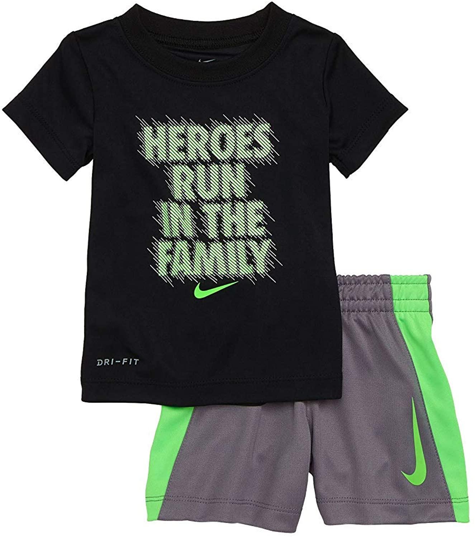 Nike Boy`s Dri-Fit T-Shirt & Shorts 2 Piece Set (Black(76D373-023)/Green/Grey, 12 Months)