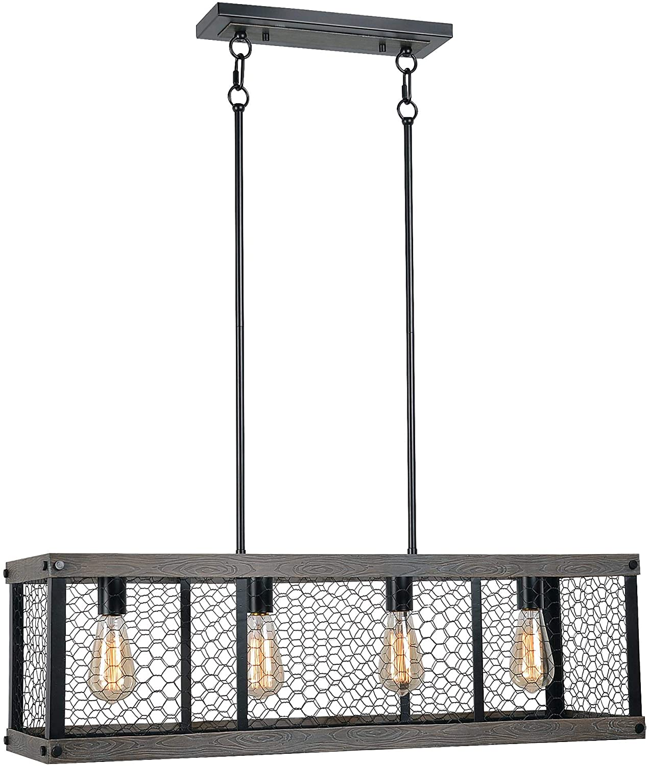 Kenroy Home Rustic 4 Light Island Light,11 Inch Height, 33 Inch Width. 10 Inch Depth with Wood and Oil Rubbed Bronze Finish