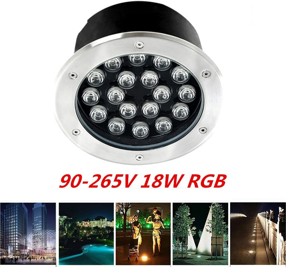 AKDSteel 18W IP65 Super Beauty LED Buried Light Circular Underground Landscape Lamp Path Way Garden Lawn Decoration RGB Changing Color 90-265V