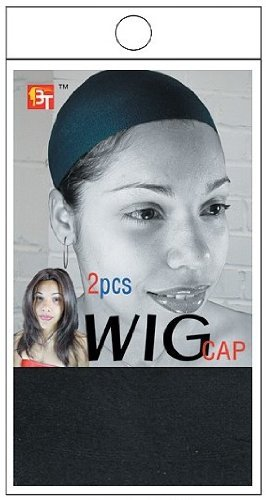 Beauty Town Stocking Wig Cap (2 Pieces) (Black)