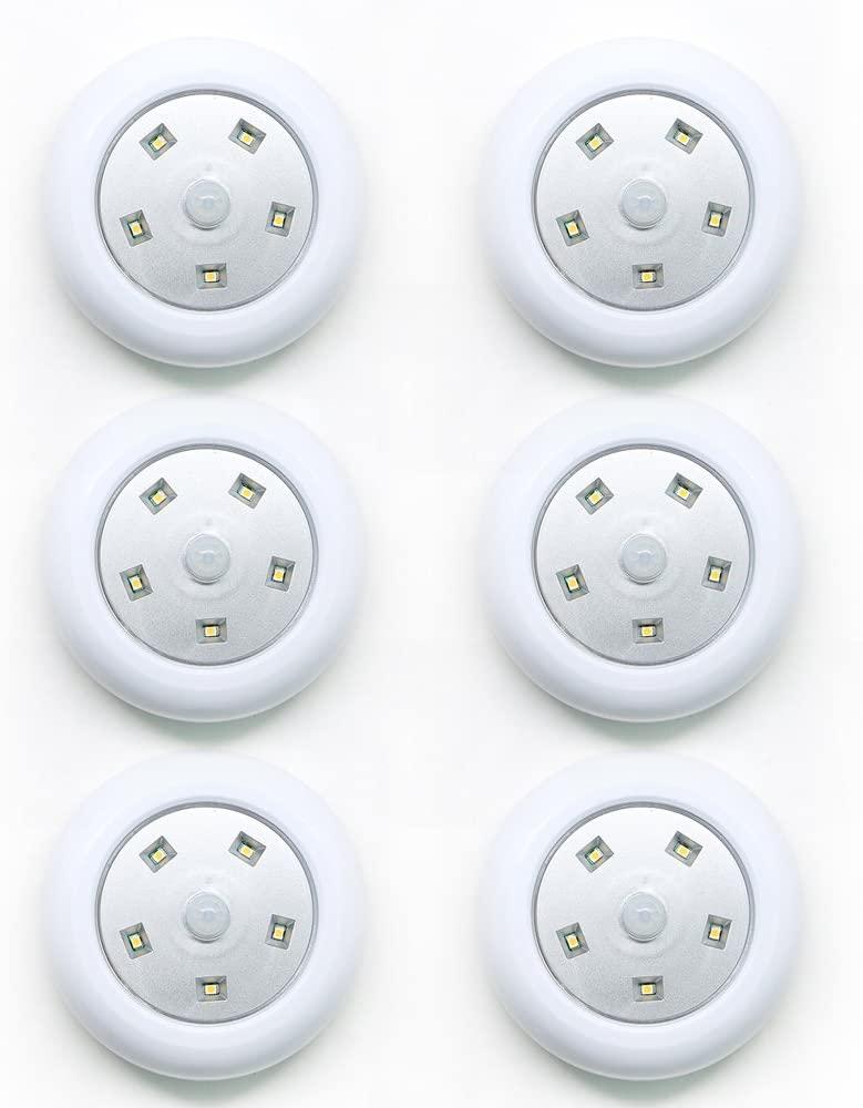 Miston LED Cabinet Light Motion Sensor Spot lamp Battery-powered Night Light Step Lights Stair Closet Light Under-Cabinet Lighting Stick Anywhere Lamp Tap Light for Hallway Closet Bathroom 6PACK