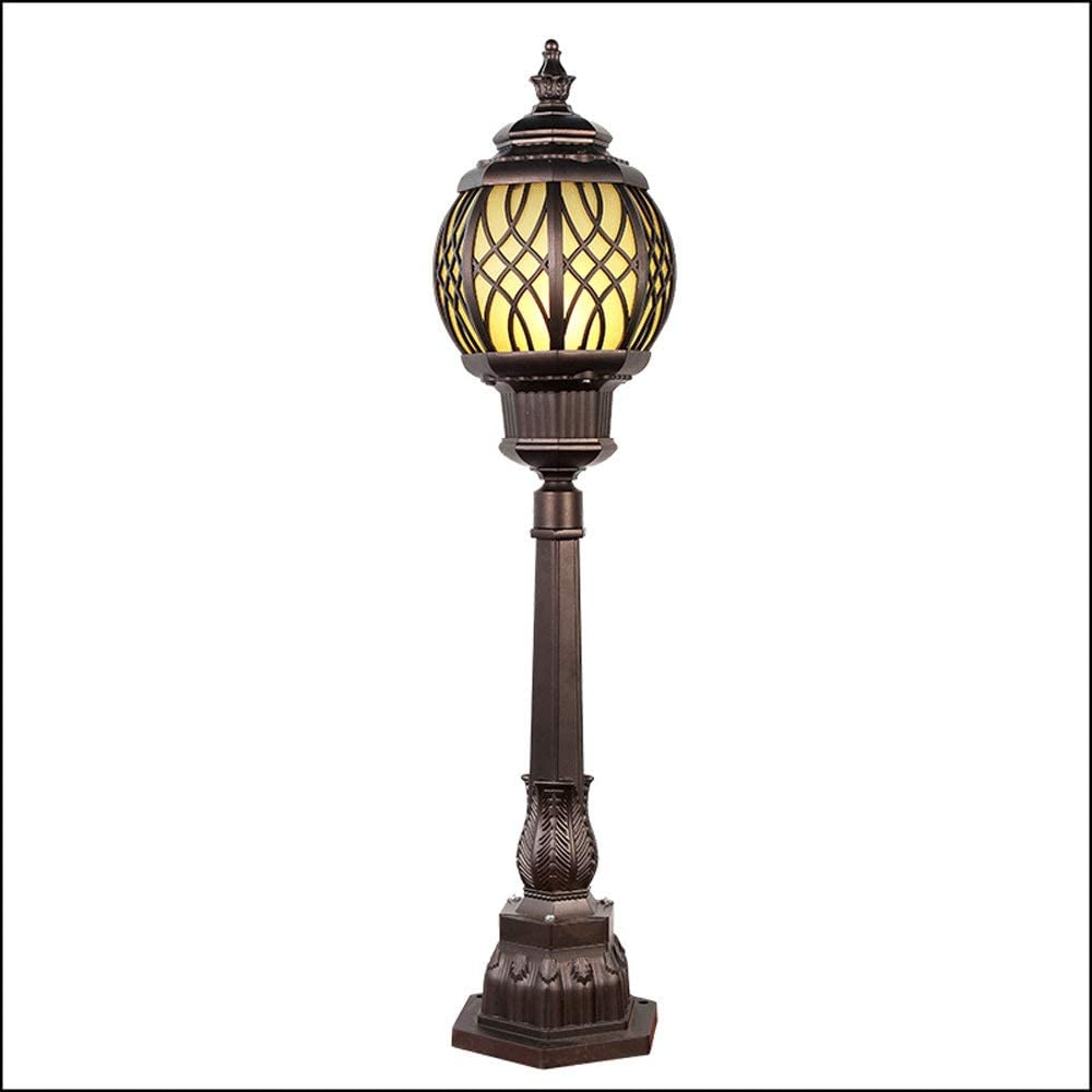 Pinjeer E27 Height 108cm Antique Lawn Glass Pillar Light European Oval IP54 Waterproof Outdoor Vintage Die-cast Aluminum Post Light Landscape Street Garden Community Decorative Column Lamp