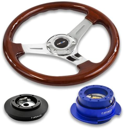 NRG Innovations 13 330mm Deep Dish Style Wood Grain Silver Spokes Racing Steering Wheel Combo with 6 Hole Short Hub Adapter with Gen 2.5 Blue Quick Release Kit SRK-121H
