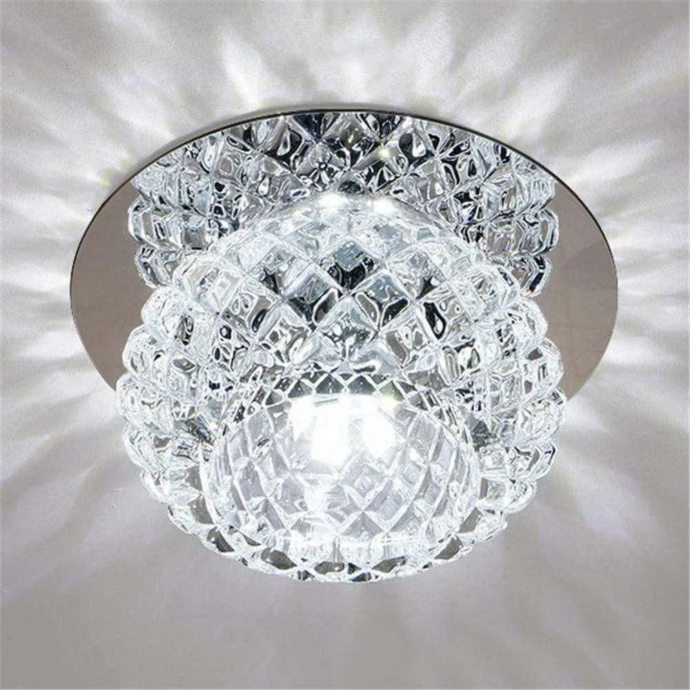 BAYCHEER Globe Crystal LED Flush Mount Light Contemporary Bowl-Shaped Chrome Finish Ceiling Lighting for Hallway Dining Bedroom Kitchen Bathroom,Cool Light