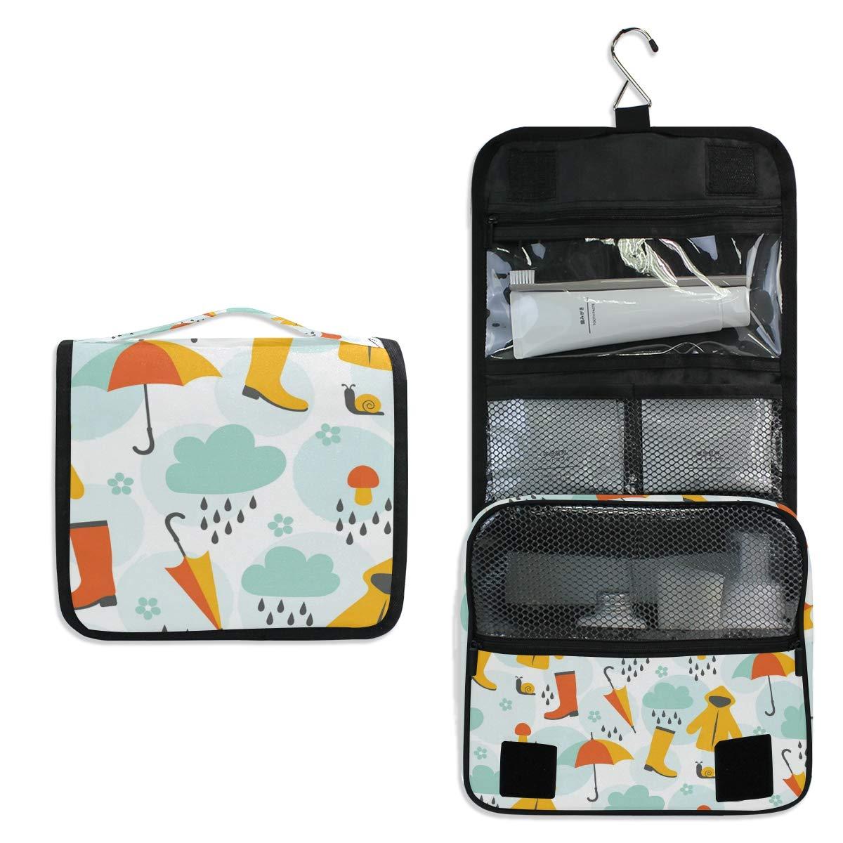 Toiletry Bag Travel Bag Hanging Hook - Cute April Rain Waterproof Cosmetic Bag Portable Makeup Pouch for Bathroom Toiletries