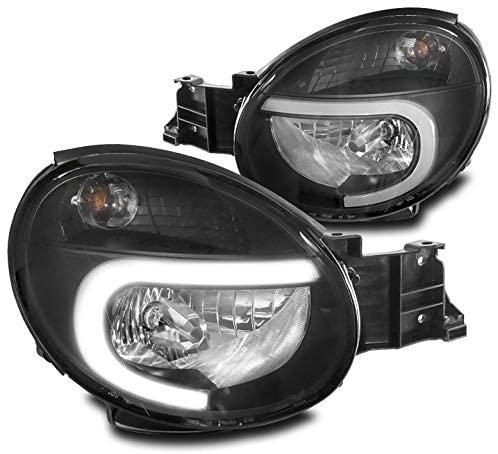 ZMAUTOPARTS LED Tube Replacement Headlights Headlamps Black For 2002-2003 Subaru Impreza