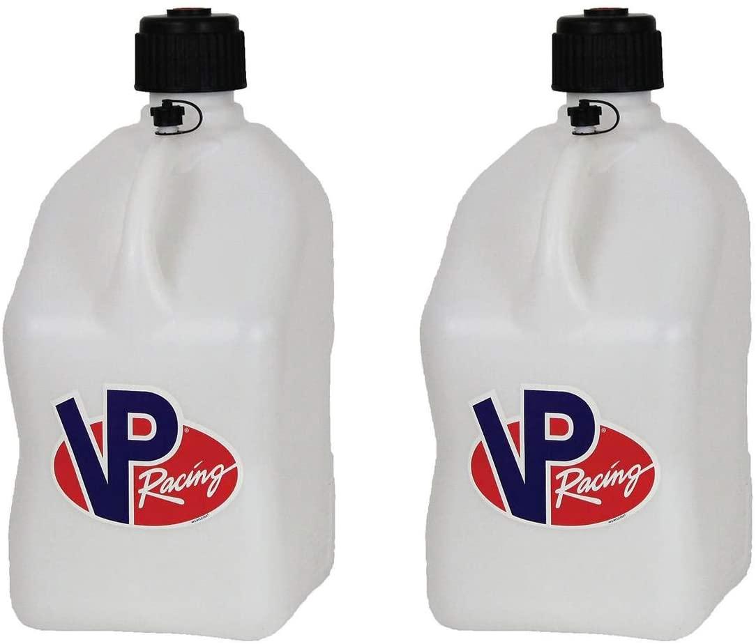 VP Racing Fuels Motorsport 5 Gallon Square Plastic Utility Jug White (2 Pack)
