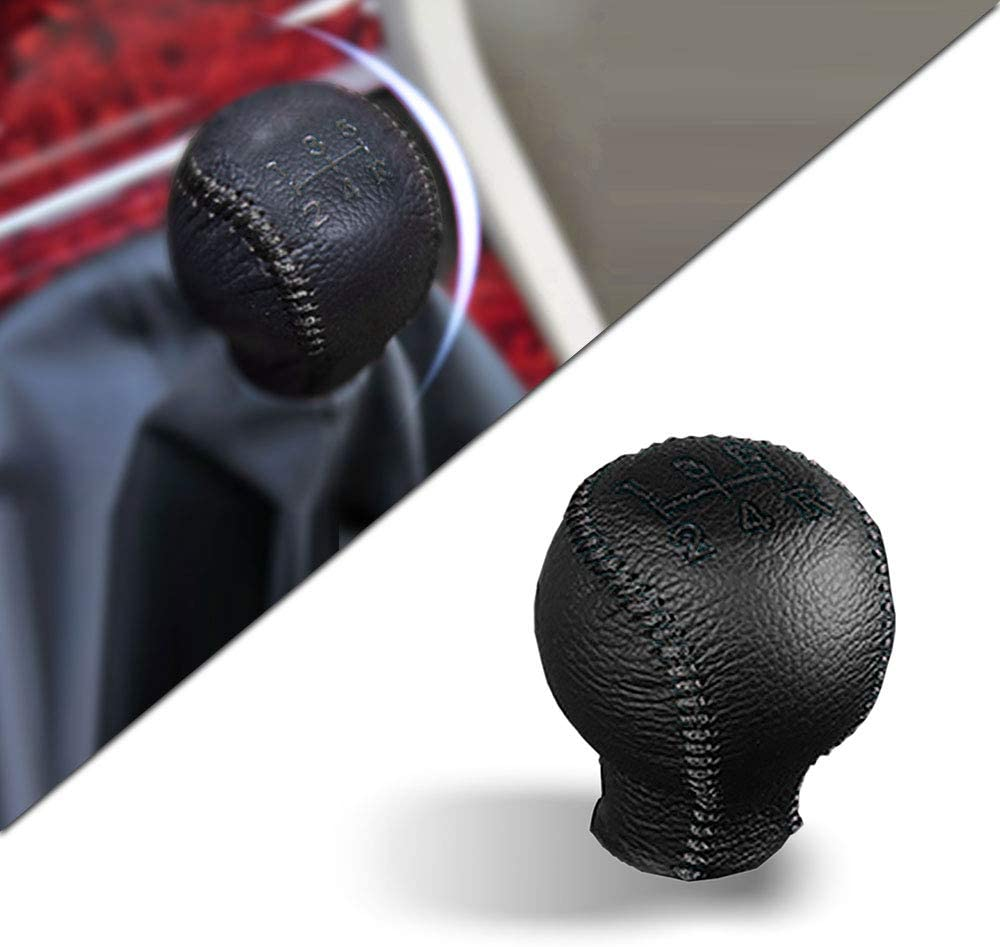 for Volkswagen at Passat 2009 Leather Car Gear Shift Knob Cover Non-Slip Gear Lever Stick Protector Black Type D