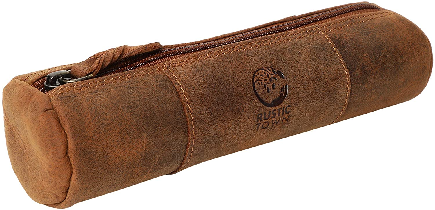 Leather Pencil Pouch - Zippered Pen Case For School, Work & Office By Rustic Town (Brown)