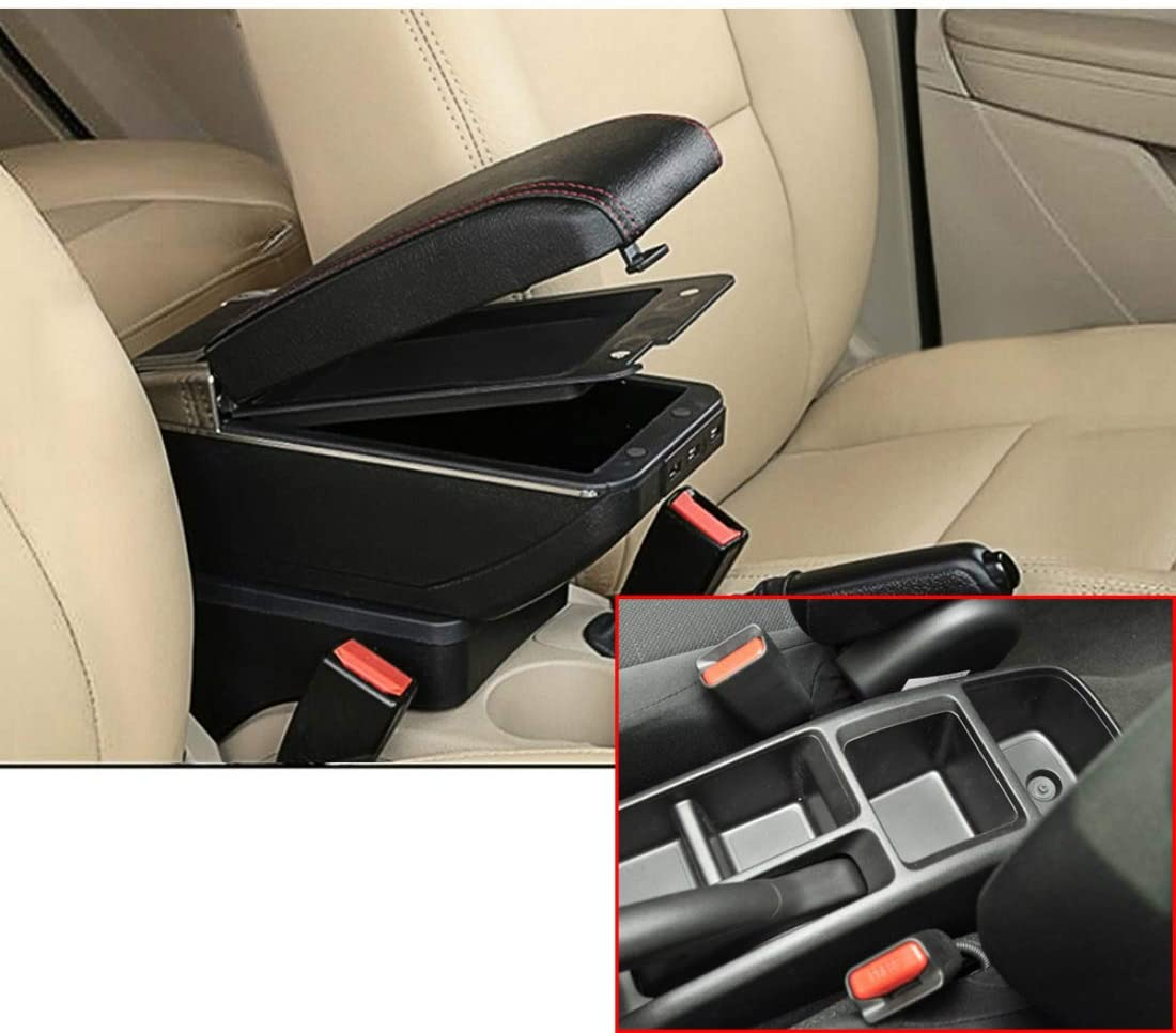 SLONG for Honda Fit Jazz 2013-2018 High-End Car Armrest Center Console Accessories with 7 USB Charging Port Cup Holder Removable Ashtray Black