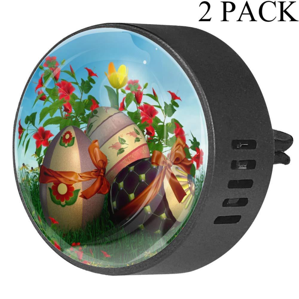 Spring Easter Eggs Car Diffuser Vent Clip Healthy Certification EVA Car Air Freshener 2 Pack, Frangipani