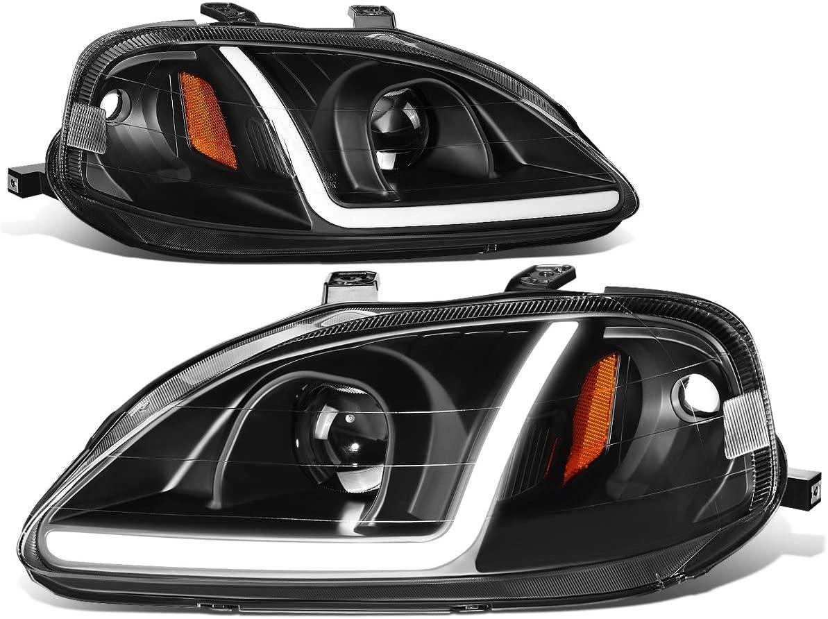 DNA MOTORING HL-LB-HC99-BK-AM LED DRL Projector Headlights For 99-00 Honda Civic, Black/Amber