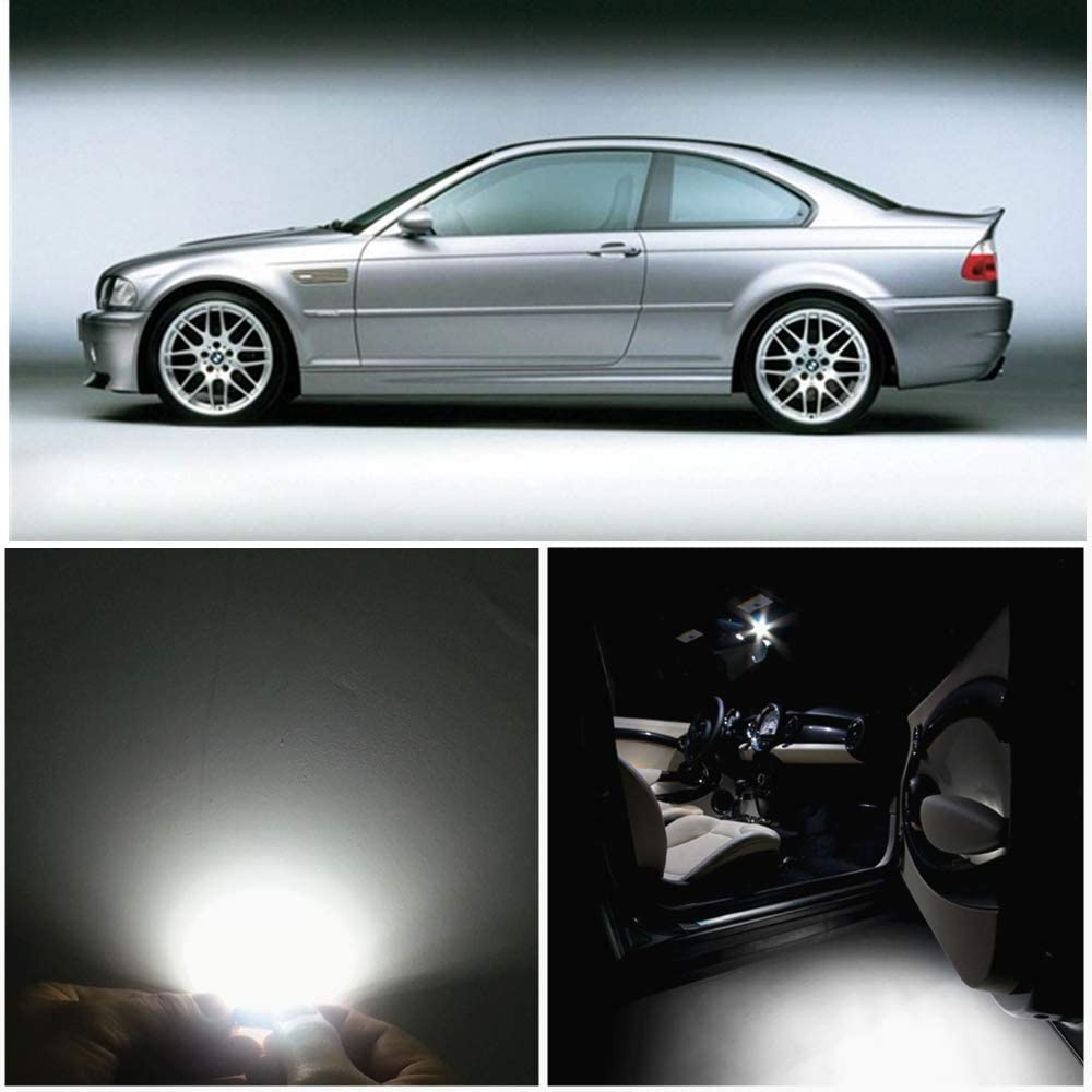 WLJH 17pcs 6000k White for BMW E46 1999-2006 Sedan Wagon Coupe Canbus Error Free Interior LED Light Packag Kit w/License Plate Light-2Yrs Warranty