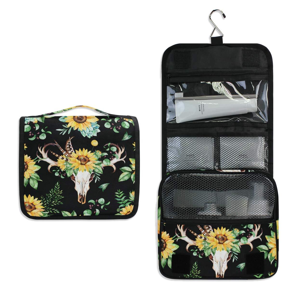 Toiletry Bag Travel Bag Hanging Hook - Sunflowers Leaves Skull Horns Waterproof Cosmetic Bag Portable Makeup Pouch for Toiletries Bathroom