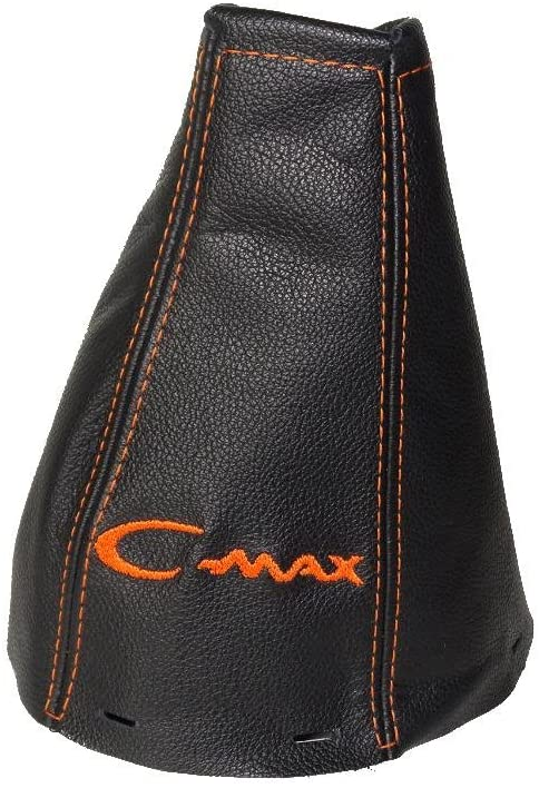The Tuning-Shop Ltd For Ford C-Max 2003-07 Gear Gaiter Black Italian Leather Orange Logo Embroidery