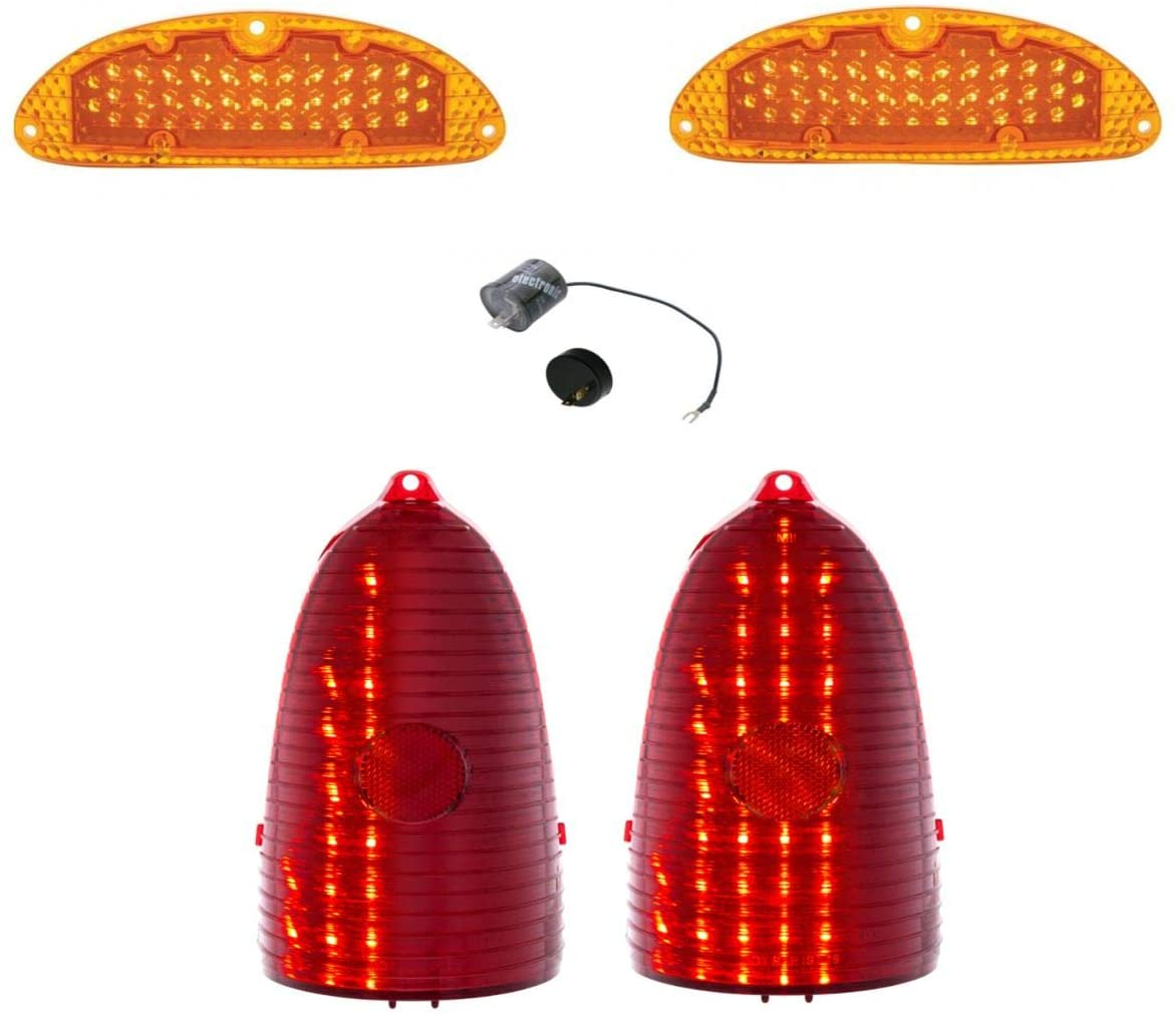 United Pacific One-Piece Style Sequential LED Tail Light With Back-Up Delete and Marker Light Set With LED Flasher 1955 Bel Air 150 210 Models