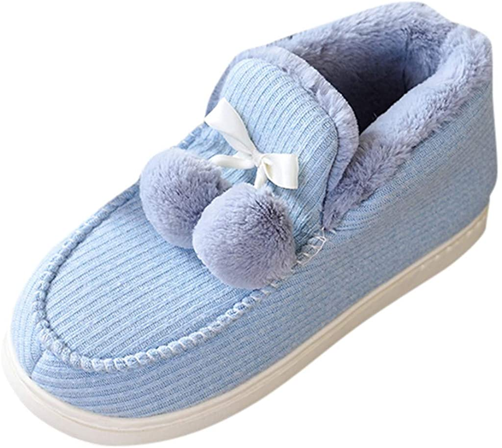 Unisex Cozy Memory Foam Slippers with Warm Plush Faux Fur Lining Wool Blend Micro House Shoes with Anti-Slip Rubber Sole