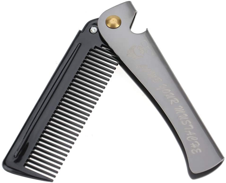 Folding Hair Comb, Professional Folding Pocket Comb with Stainless Steel Cover, Best for Every Day Grooming, Detangling and Styling(#2)