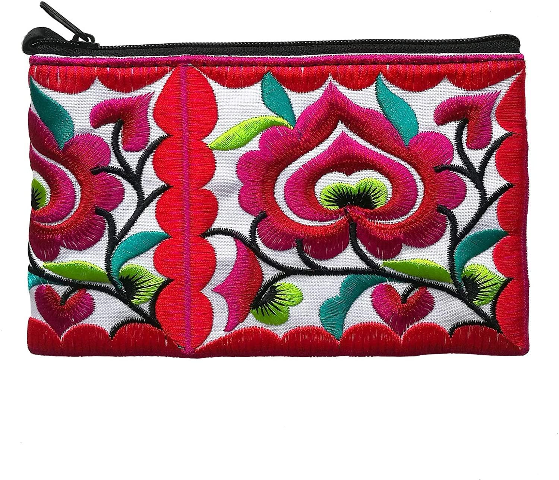Sabai Jai - Mini Floral Wristlet Wallet for Women - Small Handmade Boho Change Purse Pouch