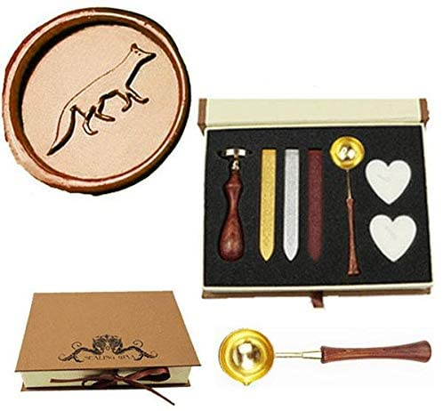 MNYR Vintage Wolf Sealing Wax Seal Stamp Wood Handle Melting Spoon Wax Stick Candle Gift Book Box kit Wedding Invitation Embellishment Holiday Card Christmas Gift Wrap Package Seal Stamp Set