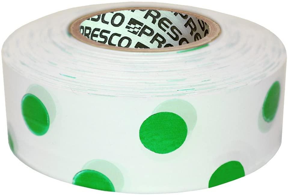Presco Polka Dot Patterned Roll Flagging Tape: 1-3/16 in x 300 ft. (White and Green Polka Dot)