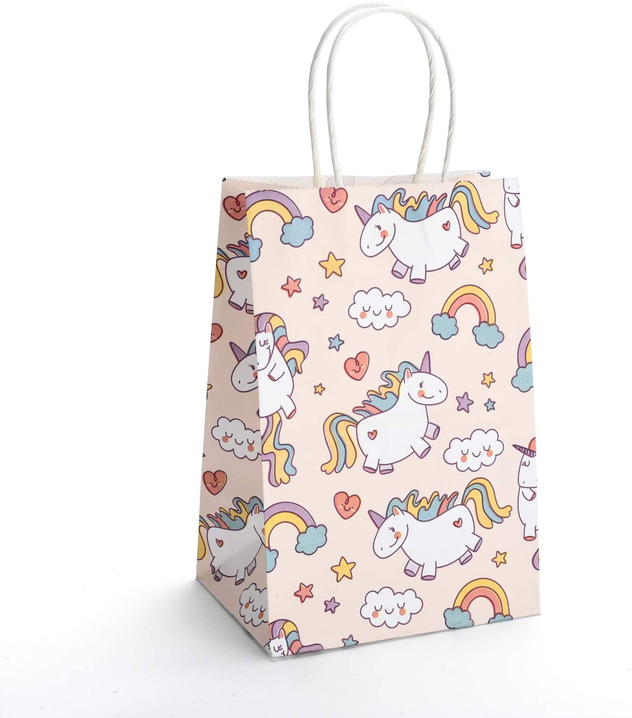 GSSUSA Small Gift Bags 5.25x3.75x8 20PACK Inches Paper Bags with Handles Party Bags Shopping Bags Kraft Bags Paper Bag with Unicorn Pattern 100% Recyclable
