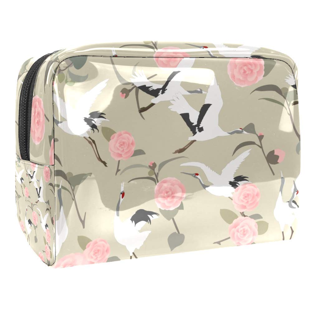 Red-Crowned Crane Pattern Zipper Toiletry Bag PVC Trip Holiday Cosmetic Bag
