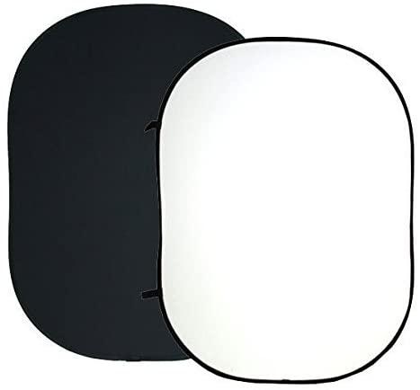 ePhotoInc 5 x 7 Twist Flex ChromaKey Background Black White Collapsible Reflector Photo Backdrop Background T57BW