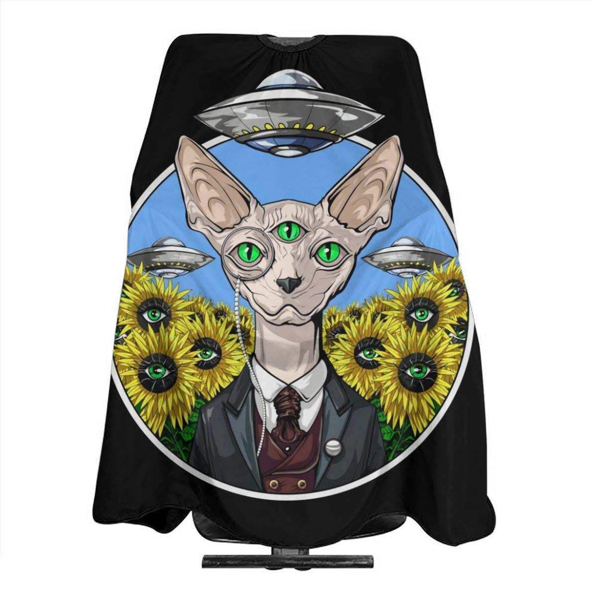 Professional Barber Cape Salon Hair Styling Cutting Haircut Aprons Alien Abduction Sphynx Cat Capes For Proof Hairdresser Coloring Perming Shampoo Chemical 55