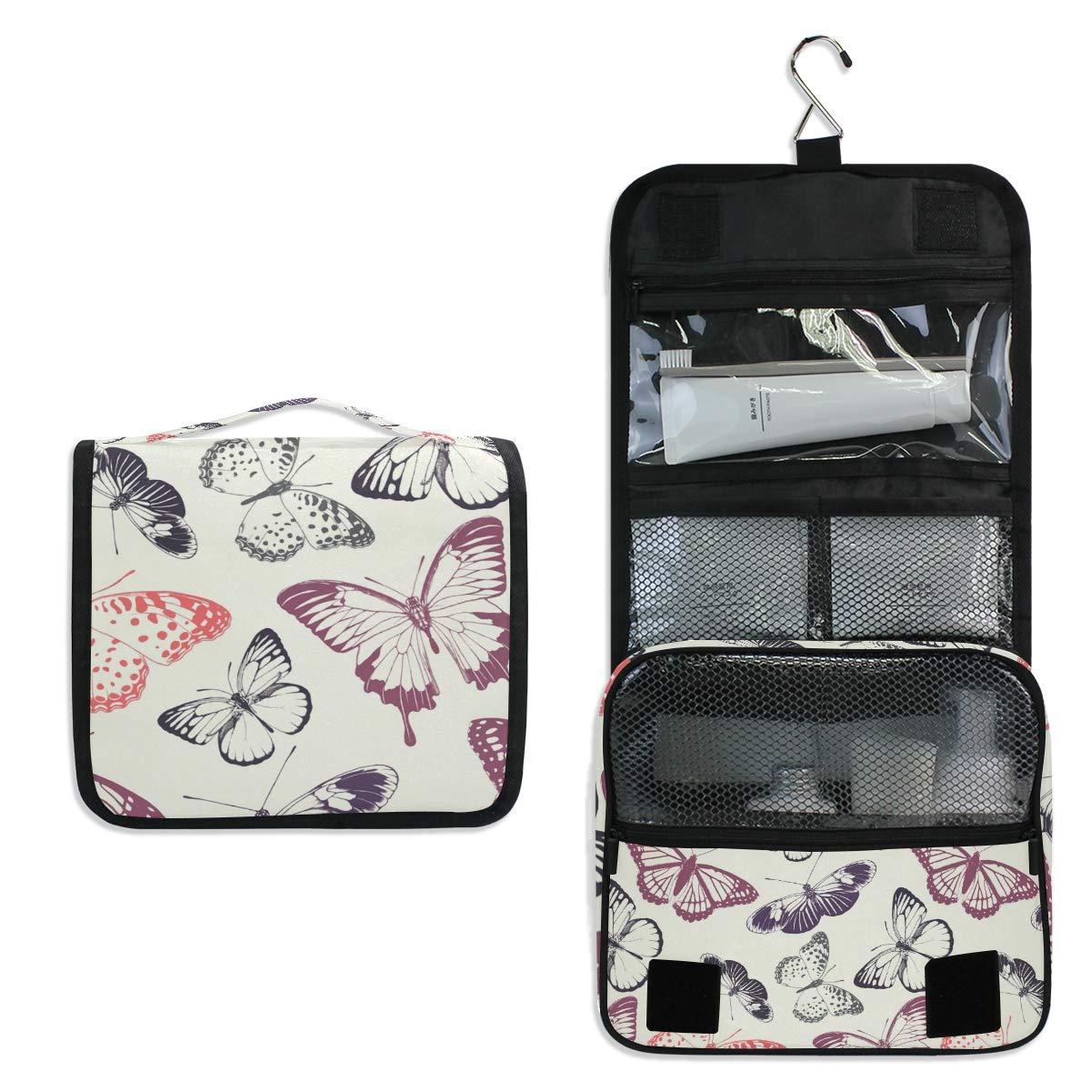 Toiletry Bag Travel Bag Hanging Hook - Butterflies Waterproof Cosmetic Bag Portable Makeup Pouch for Women Girls Men