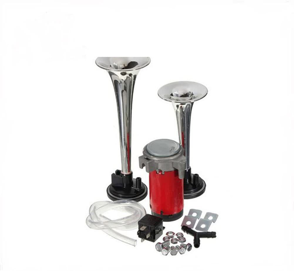 AKDSteel 178DB 12V Super Loud Dual Trumpet Car Air Horn Compressor Kit for Motorcycle Boat Truck Train