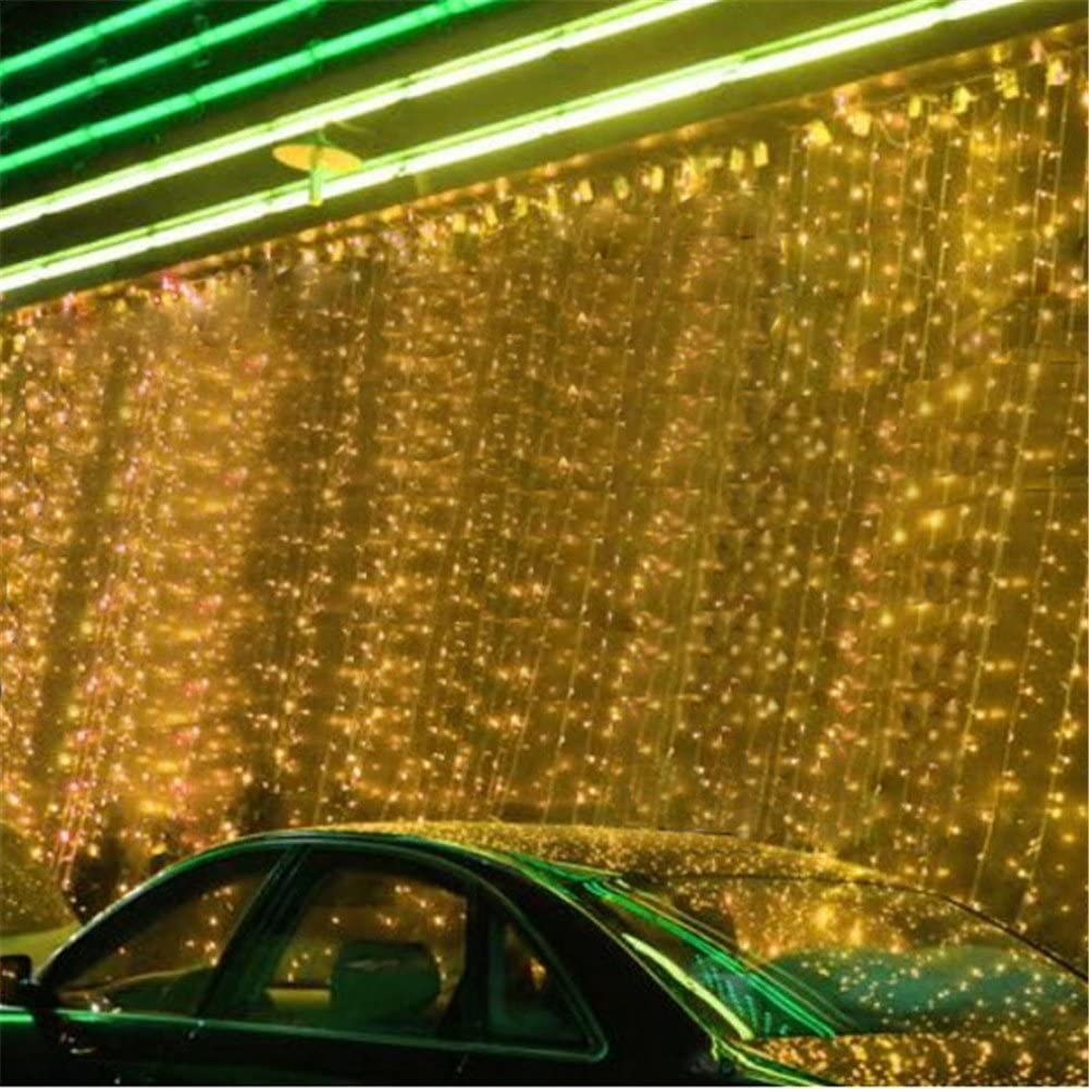 Surprise Zone 8 Modes 1280 LEDs 8M(W) X 5M(H) Curtain Lights String Fairy Light Window Curtain Icicle Lights for Christmas Wedding Party Bar Hotel Decorations Warm White