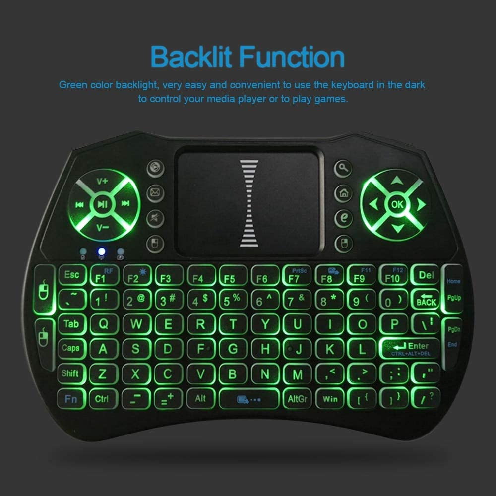 Calvas i9 Backlit 2.4GHz Wireless Keyboard Air Mouse Touchpad Handheld Remote Control Backlight for Android TV BOX Smart TV PC Notebook - (Color: Black)