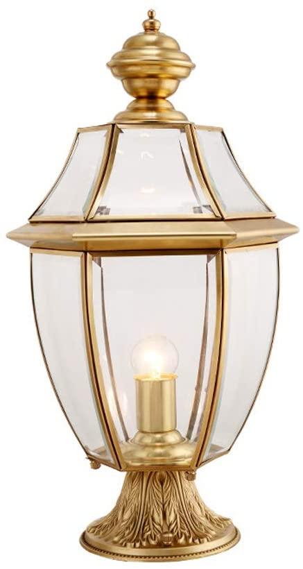 Mpotow European Copper Glass Column Headlight Gold Metal Outdoor Waterproof Garden Post Lamp Creative Villa Door Garden Exterior Street Light Classical Hotel Park Lawn Pedestal Light E27