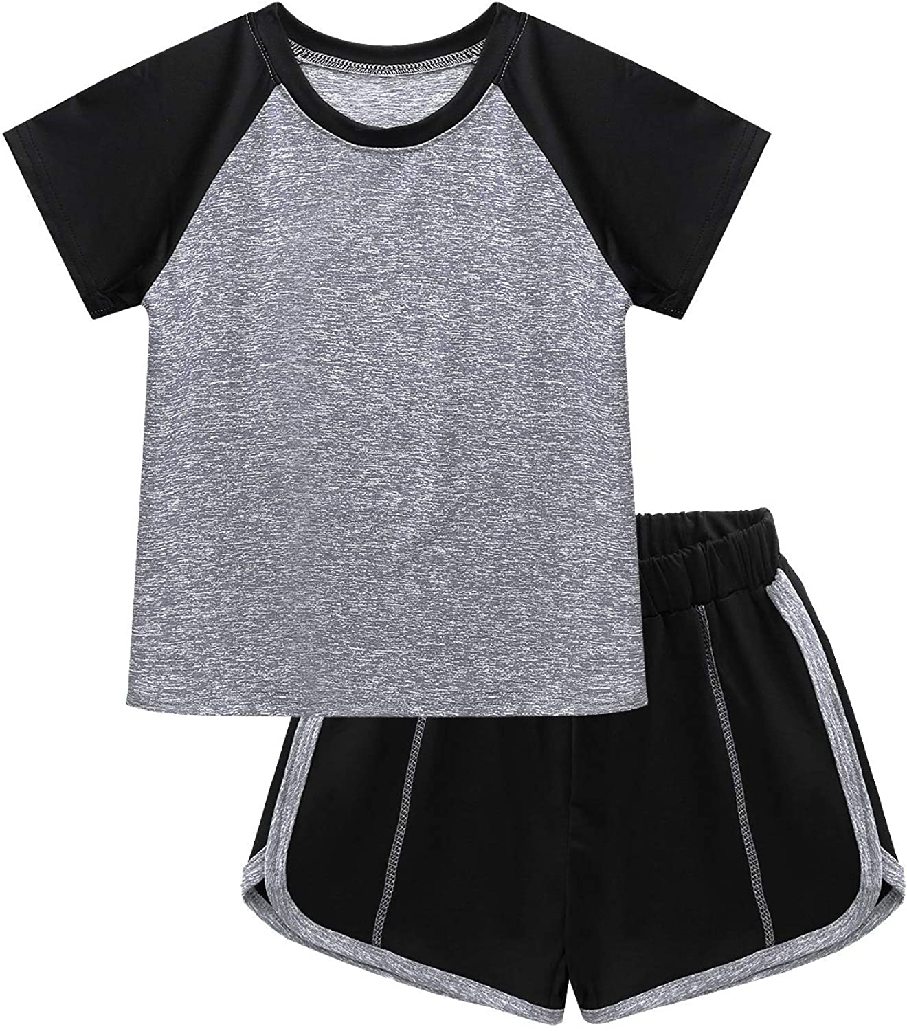 Freebily Kids Boys Girls Athletic Fitness Outfits Short Sleeves Sports T-Shirt Top with Shorts Gym Tracksuits Activewear