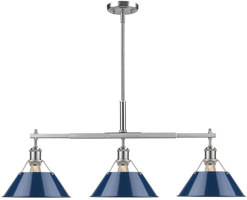 Golden Lighting 3306-LP PW-NVY Orwell Linear Pendant, Pewter with Navy Blue Shade