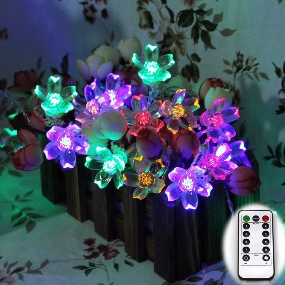 Dreamworth Newest Remote Battery Operated Sakura String Lights 40 LED Flower Fairy Light on 16.4 ft PVC String 8 Lighting Mode with Timer and Dimmer Function + Remote Control for Indoor and Outdoor