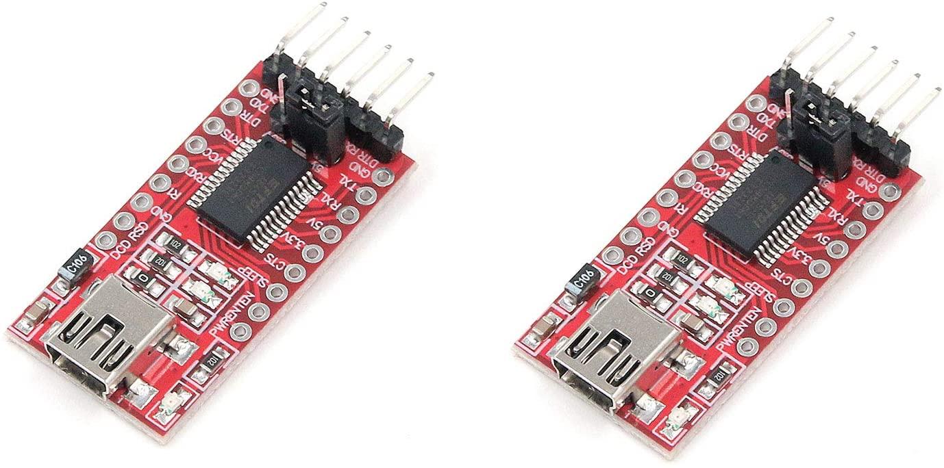 Tulead FT232RL Modules USB to TTL USB Adapter FTDI Programmer Power Adapter Mini Port 6 Pins Pack of 2