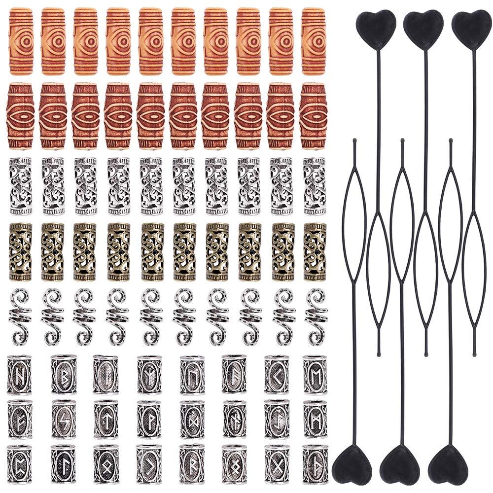 YMHPRIDE 80 Pieces Hair Tube Beads Vikings Beads Dreadlocks Beads Imitation Wood Beads Hair Beard Beads Hair Tube Jewelry for DIY Braiding Hair Decoration