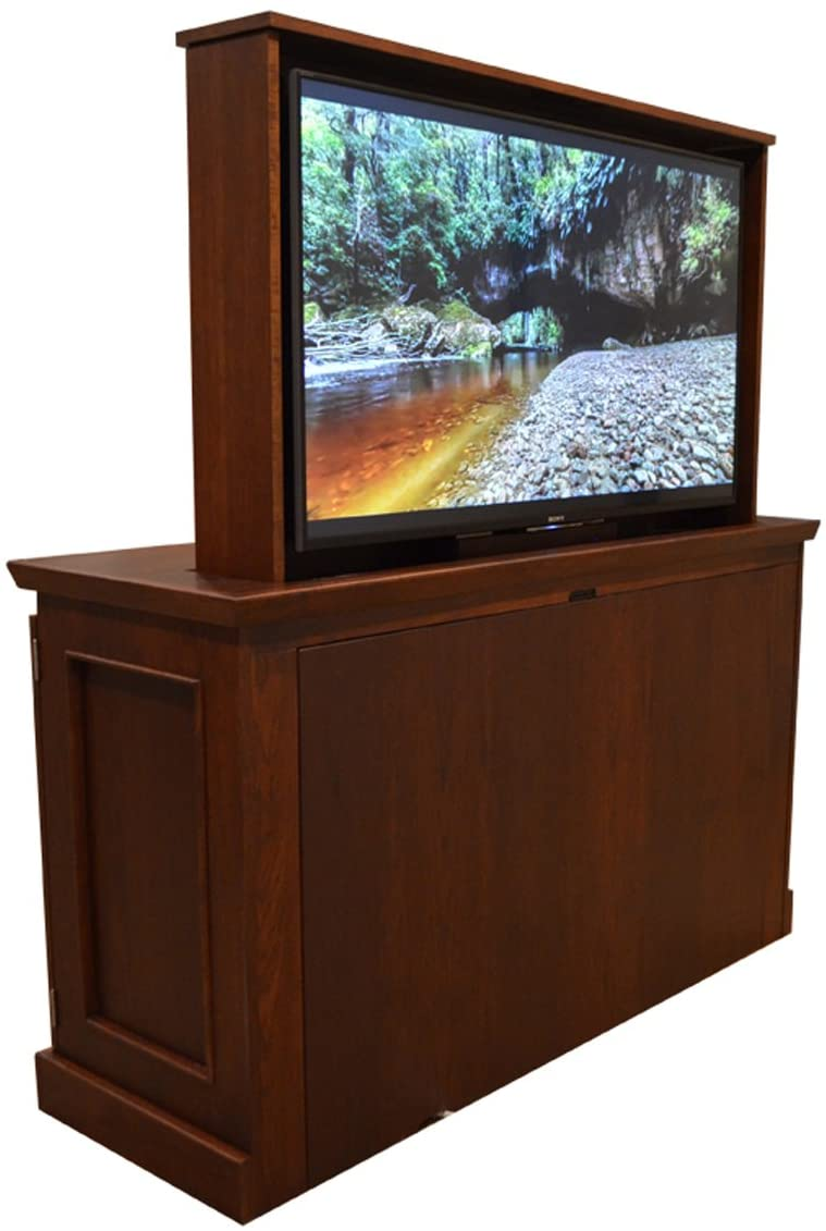 TV Lift - Handcrafted Westport TV Lift Cabinet (55 TV - Foot of The Bed Cabinet, Red Mahogany (Finish) - Red Oak (Wood))
