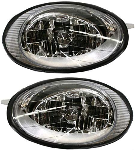 Headlight Assembly Compatible with 1996-1998 Ford Taurus Halogen Passenger and Driver Side