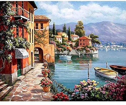 Jocafo paintworks DIY Oil Painting Paint by Number Kits for aldults Kids 16X20inches-Harbour (Without Frame)