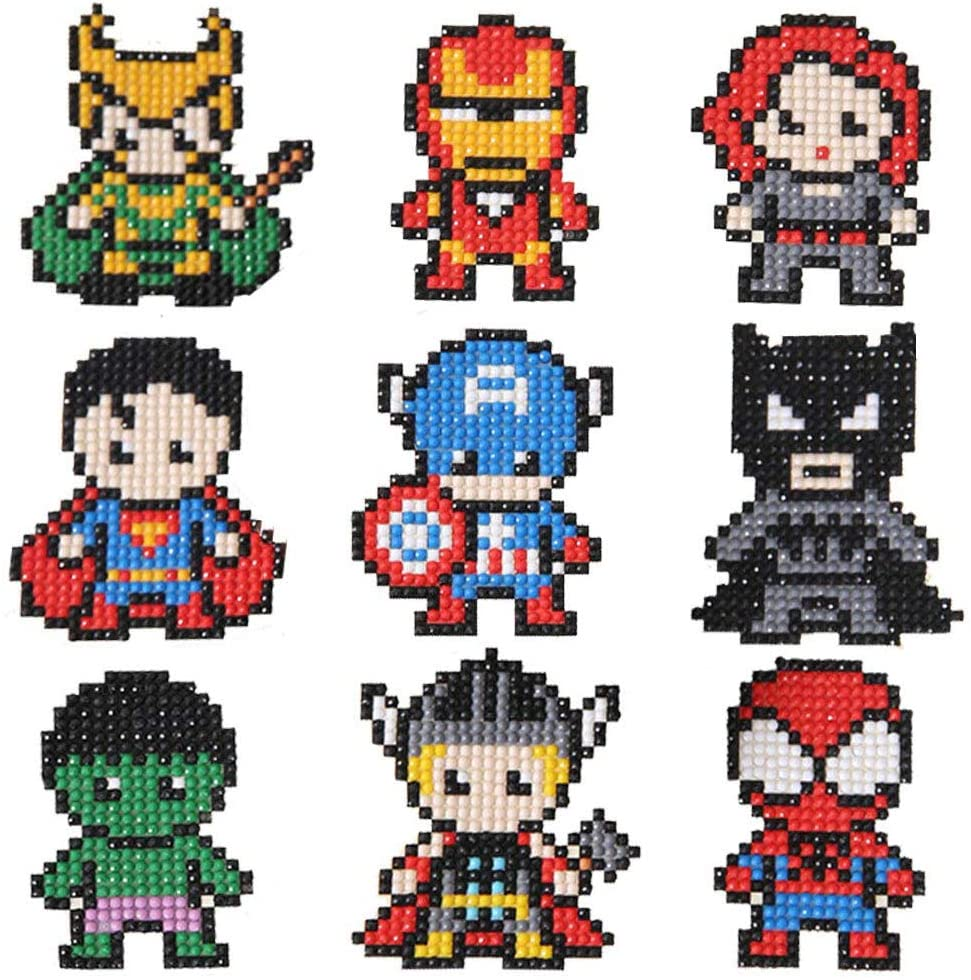 FENGJINRUHUA Diamond Painting Kits for Kids DIY Paint by Numbers Handmade Sticker Arts and Crafts for Children (Marvel Series)